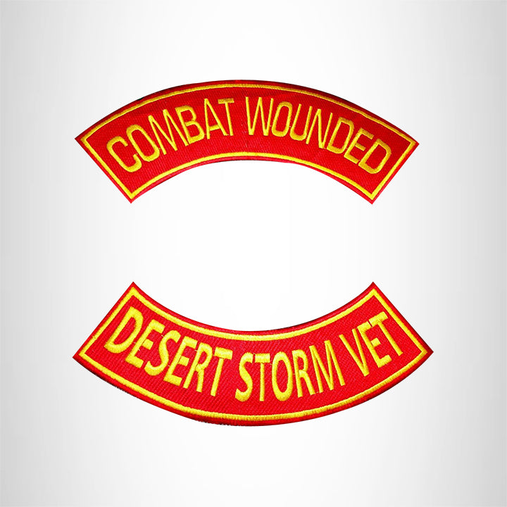 COMBAT WOUNDED DESERT STORM VET 2 Patches Set Sew on for Vest Jacket