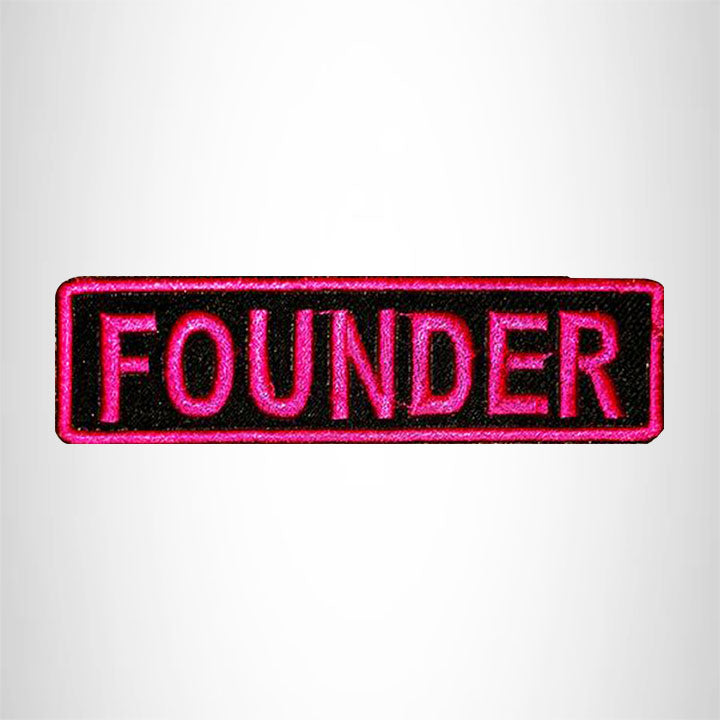 FOUNDER Pink on Black Small Patch Iron on for Vest Jacket SB594