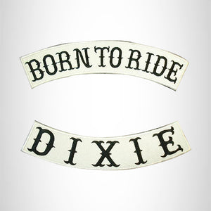 BORN TO RIDE DIXIE Rocker 2 Patches Set Sew on for Vest Jacket