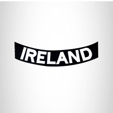 IRELAND White on Black Bottom Rocker Patches for Vest jacket BR408