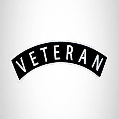 VETERAN White on Black Top Rocker Patch for Motorcycle Jacket Vest