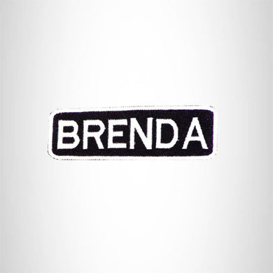 BRENDA Black and White Name Tag Iron on Patch for Biker Vest and Jacket NB278