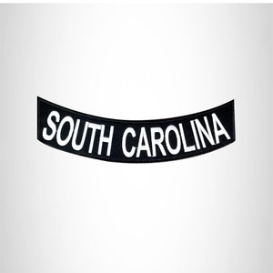 SOUTH CAROLINA White on Black Bottom Rocker Patches for Vest jacket BR409