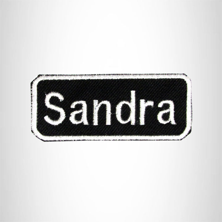 Sandra Iron on Name Tag Patch for Biker Jacket and Vest NB137