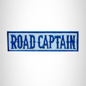 ROAD CAPTAIN Blue on White Small Patch Iron on for Biker Jacket Vest SB452