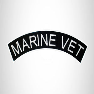 MARINE VET White on Black Top Rocker Patch for Biker Vest Jacket TR299