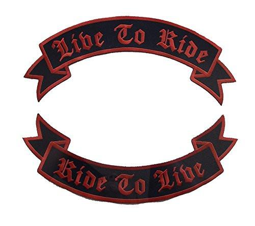 Live to Ride Ride to Live Rockers Back Patches Red on Black Motorcycle vest-STURGIS MIDWEST INC.