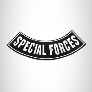 Special forces White on black Bottom Rocker Iron on Patch for Biker Vest BR466
