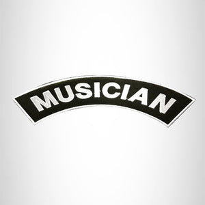 MUSICIAN White on Black Top Rocker Patch for Motorcycle Jacket Vest