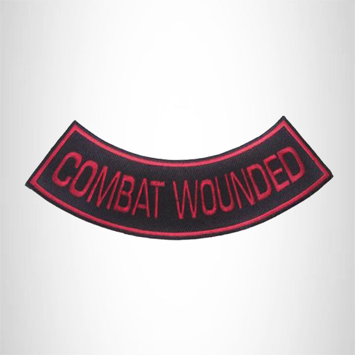 Red Combat Wounded Patch Bottom Rocker for Biker Vest Jacket