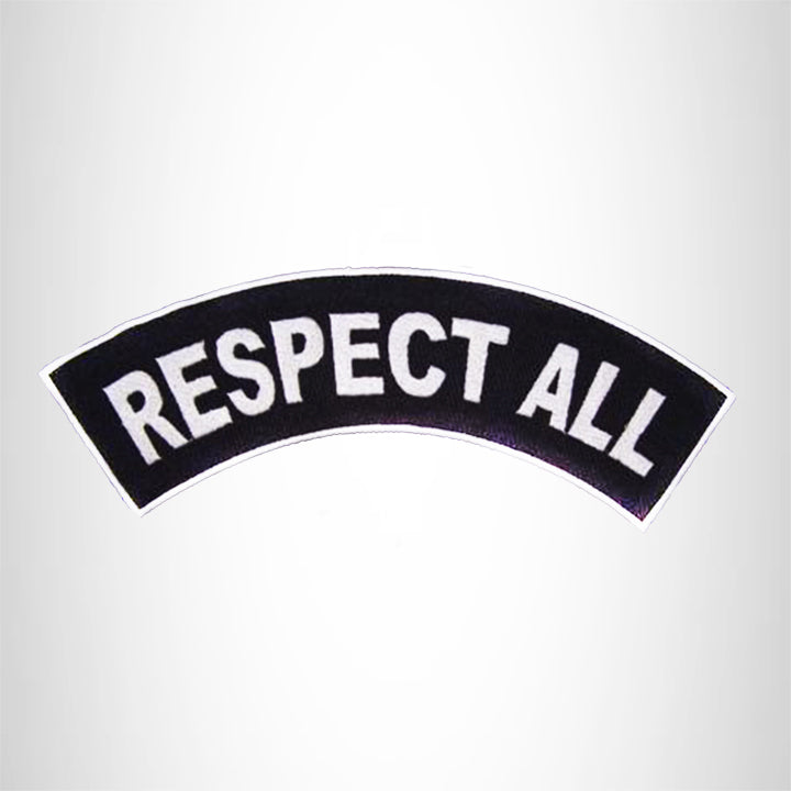 RESPECT ALL White on Black Top Rocker Patch for Motorcycle Jacket Vest