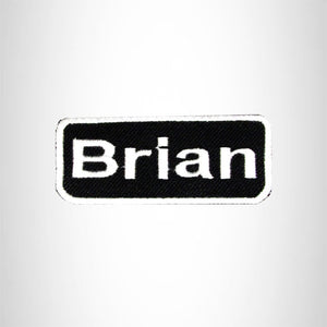 BRIAN White on Black Iron on Name Tag Patch for Biker Vest NB204