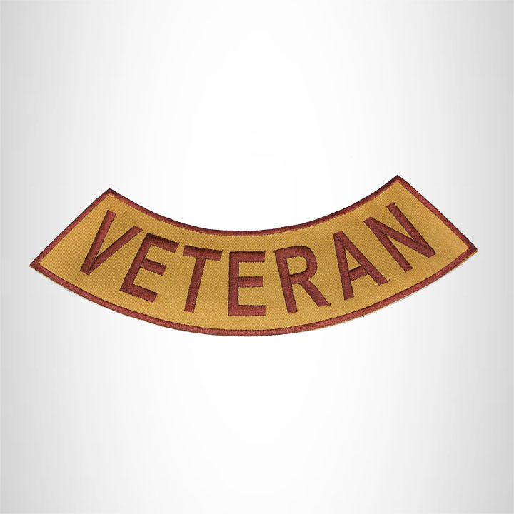 VETERAN Brown on Gold with Boarder Bottom Rocker Iron on Patch for Biker Vest