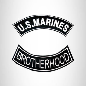 U.S MARINES BROTHERHOOD 2 Patches Set Sew on for Vest Jacket