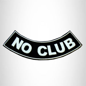 NO CLUB PATCH BOTTOM ROCKER  BLACK & WHITE FOR MOTORCYCLE BIKER VEST JACKET