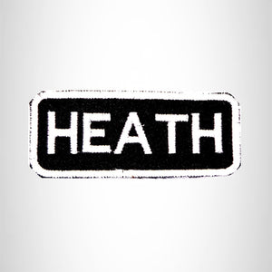HEATH Black and White Name Tag Iron on Patch for Biker Vest and Jacket NB223