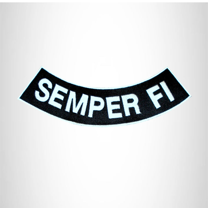 SEMPER FI White on Black with Boarder Bottom Rocker Patch for Vest