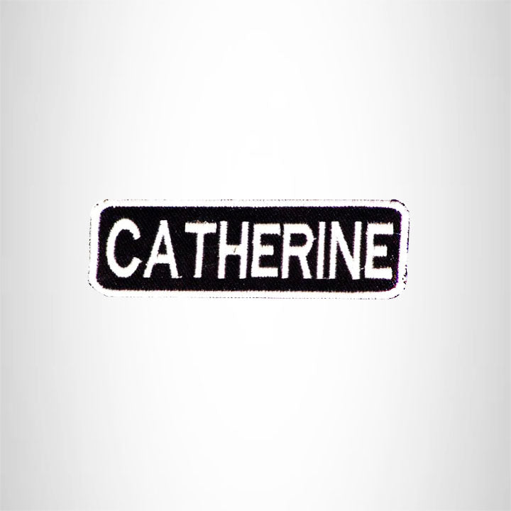 CATHERINE Black and White Name Tag Iron on Patch for Biker Vest and Jacket NB282