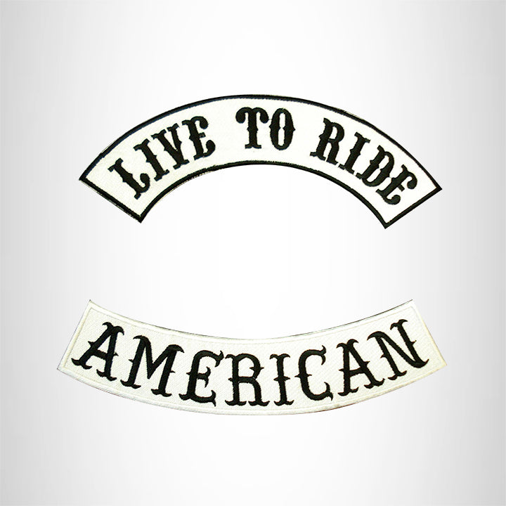 LIVE TO RIDE AMERICAN Rocker 2 Patches Set Sew on for Vest Jacket