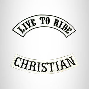LIVE TO RIDE CHRISTIAN Rocker 2 Patches Set Sew on for Vest Jacket