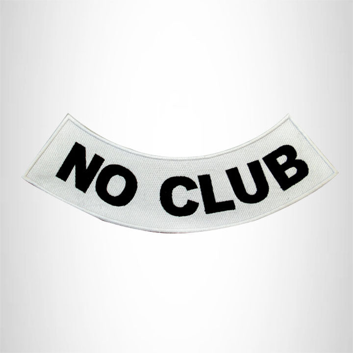 NO CLUB Black on White Bottom Rocker Patches for Vest jacket