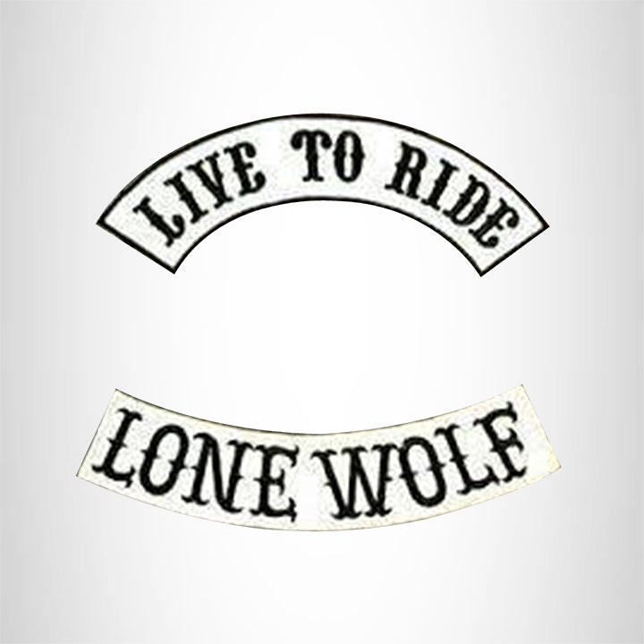 LIVE TO RIDE LONE WOLF Rocker 2 Patches Set Sew on for Vest Jacket