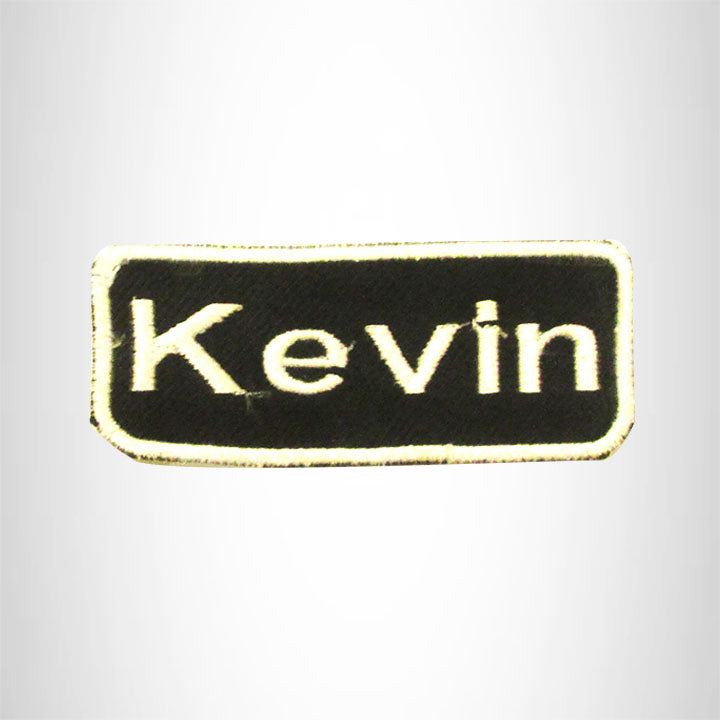 Kevin White on Black Iron on Name Tag Patch for Biker Vest NB175