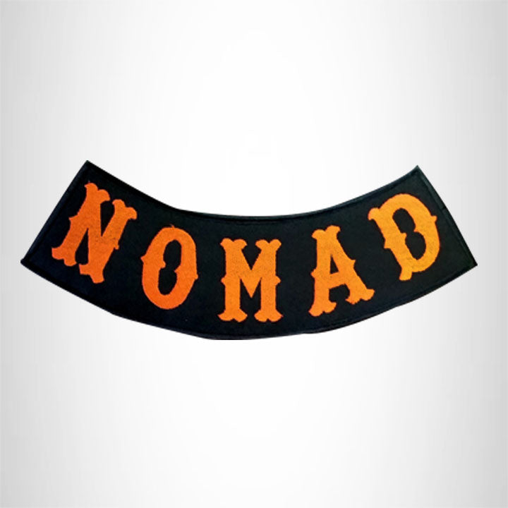 NOMAD Orange on Black Bottom Rocker Patch for Vest Jacket