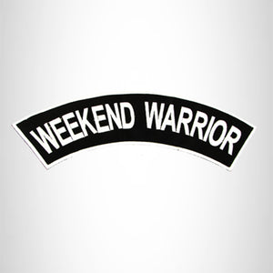 WEEKEND WARRIOR White on Black Top Rocker Patch for Biker Vest Jacket TR317