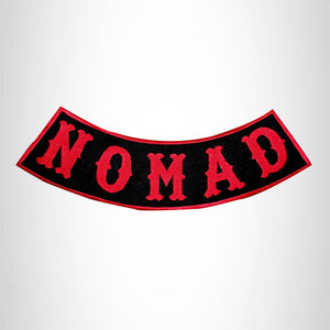 NOMAD Red on Black with Boarder Bottom Rocker Patches for Vest