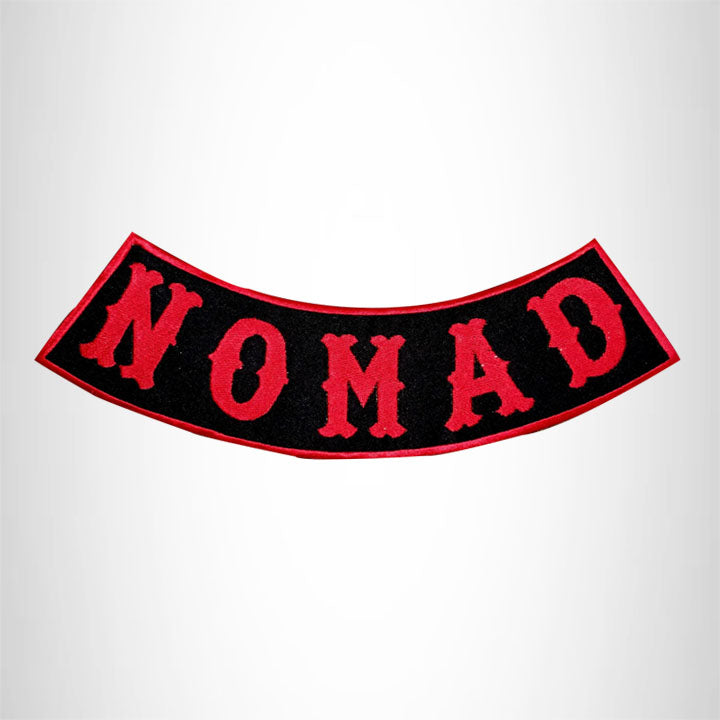 NOMAD Red on Black with Boarder Bottom Rocker Patch for Vest