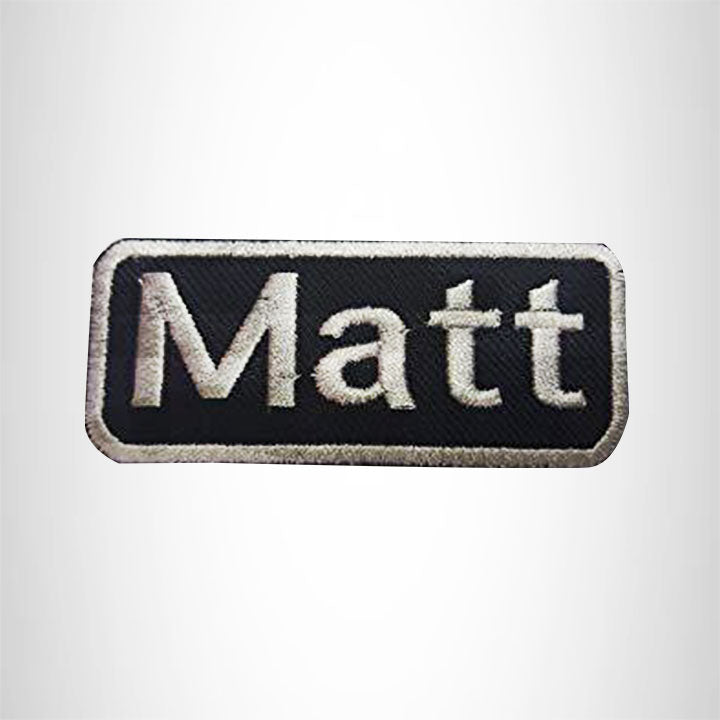 Matt White on Black Iron on Name Tag Patch for Biker Vest NB177