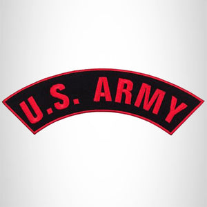 U.S ARMY Red and Black Iron on Top Rocker Patch for Biker Vest Jacket TR201
