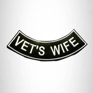 VET'S WIFE White on Black with Boarder Bottom Rocker Patches for Vest jacket