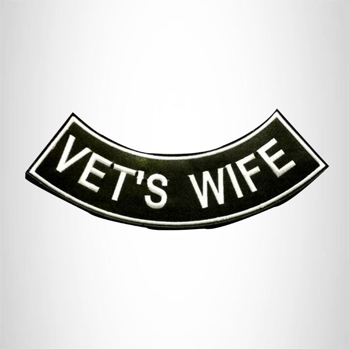 VET'S WIFE White on Black with Boarder Bottom Rocker Patch for Vest Jacket