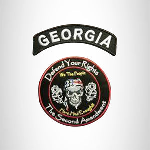 GEORGIA Defend Your Rights the 2nd Amendment 2 Patches Set for Vest Jacket