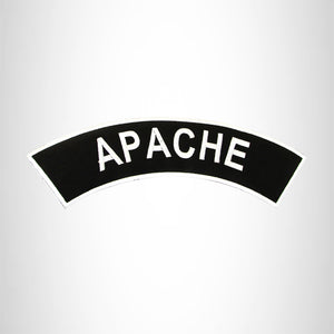 APACHE White on Black Top Rocker Patch for Biker Vest Jacket TR323