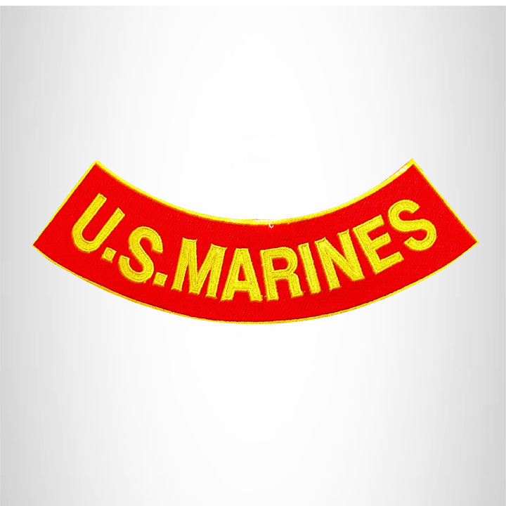 U.S.MARINES Yellow on Red with Boarder Bottom Rocker Patch for Vest