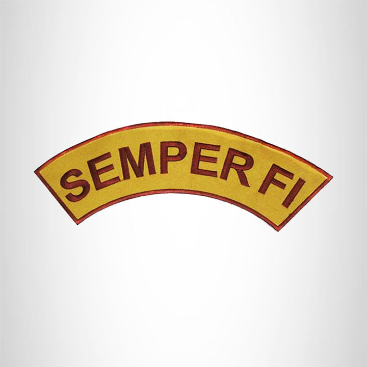 SEMPER FI Brown on Gold with Boarder Top Rocker Iron on Patch for Biker Vest and Jacket
