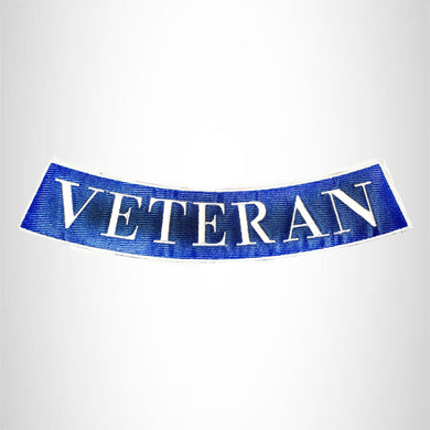 VETERAN White on Dark Blue with Boarder Bottom Rocker Patches for Vest BR430
