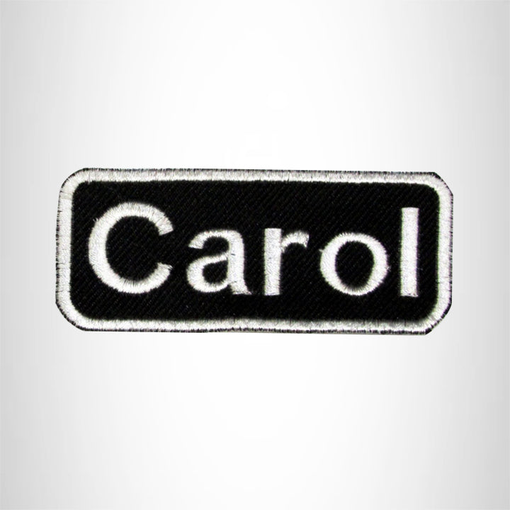 Carol White on Black Iron on Name Tag Patch for Biker Vest NB110