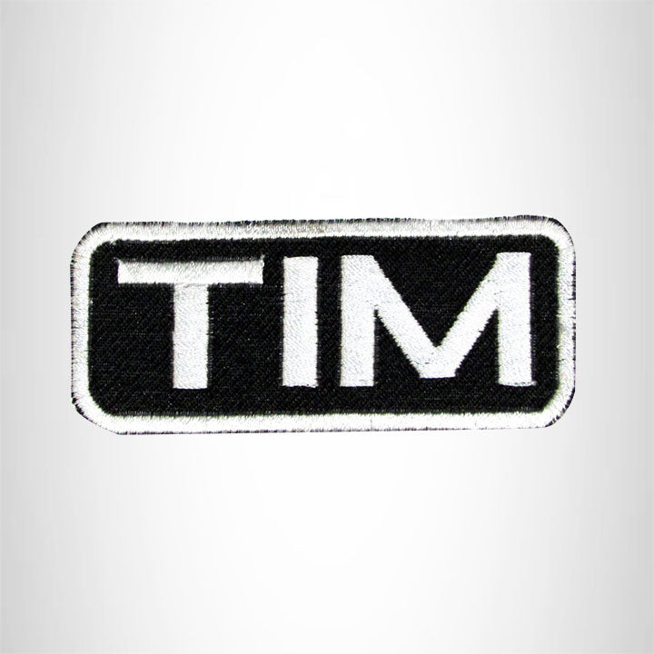 Tim White on Black Iron on Name Tag Patch for Biker Vest NB191