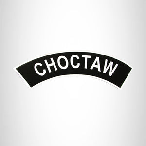 CHOCTAW White on Black with Border Iron on Top Rocker Patch for  Biker Vest TR325