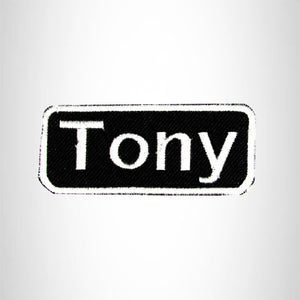 Tony White on Black Iron on Name Tag Patch for Biker Vest NB192