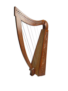 22 Strings LEVER Harp Solid Wood Celtic Irish rose Harp Engraved wood