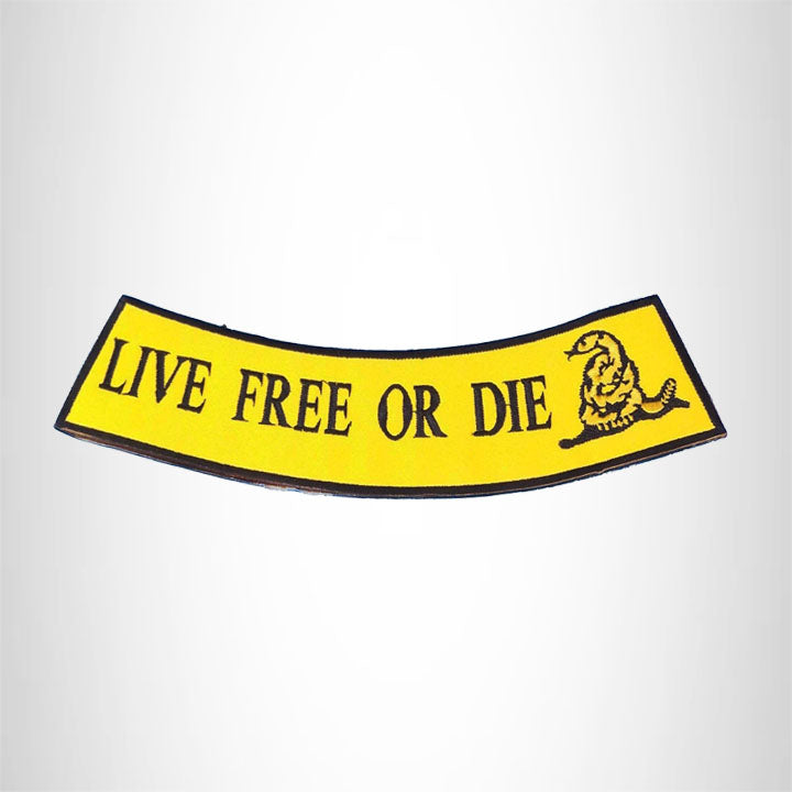 Live Free or Die Black on Yellow Bottom Rocker Iron on Patch for Biker Vest BR470