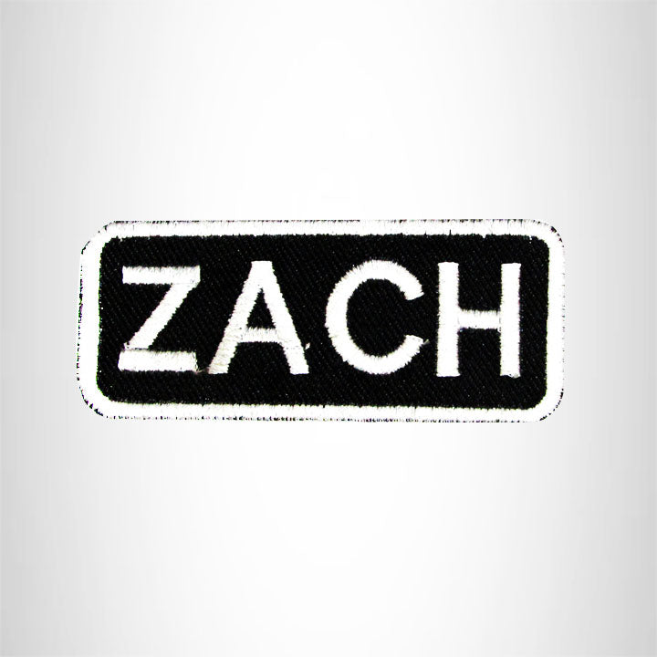 Zach White on Black Iron on Name Tag Patch for Biker Vest NB194