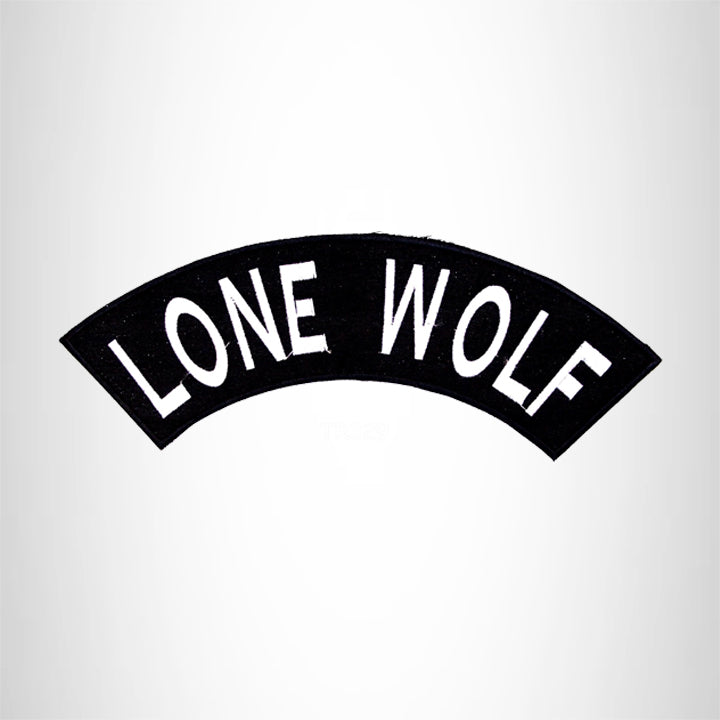 LONE WOLF White on Black Top Rocker Iron on Patch for Biker Vest TR329