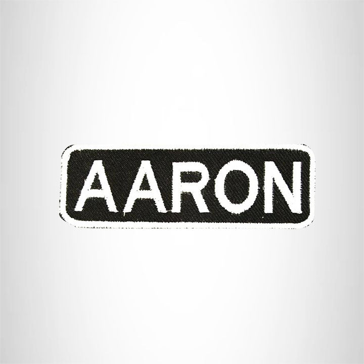Name Tag Patch Aaron White on Black Iron on for Biker Vest
