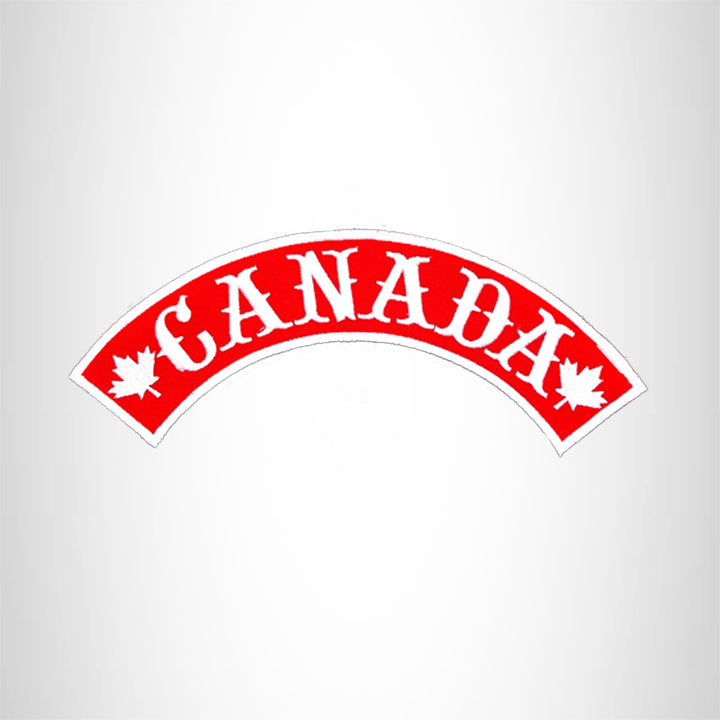 Canada White on Red Black Boarder Top Rocker Patch for Biker Vest Jacket TR330